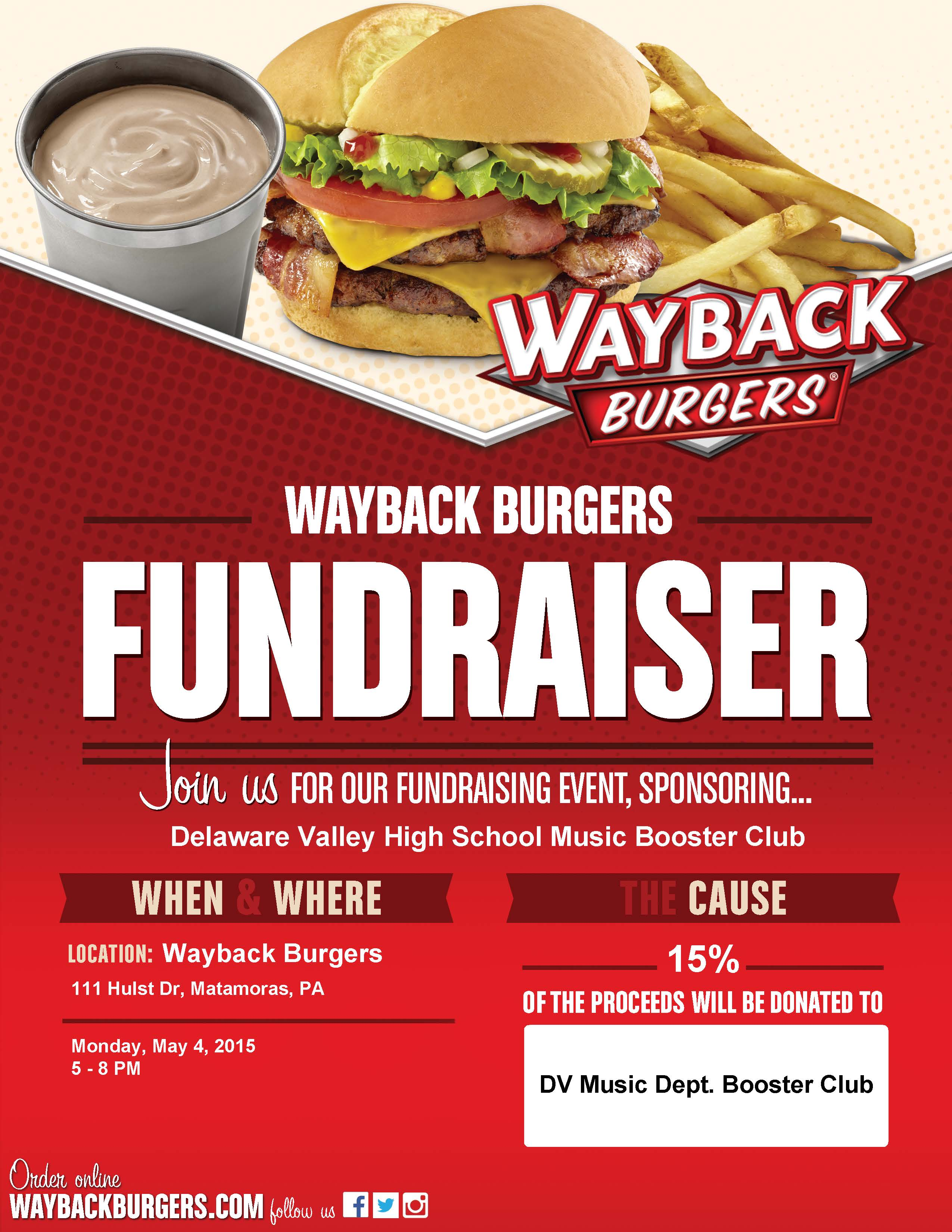 5 4 Dining Out Fundraiser At Jake S Wayback Burgers Dv
