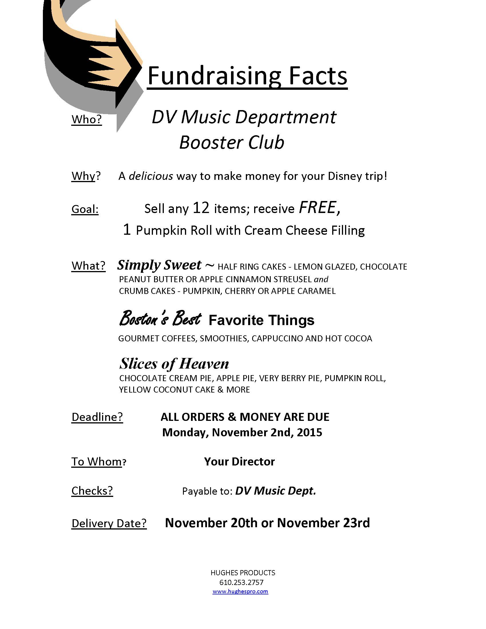 hughes products fundraiser flyers and info dv music dept booster hughesprodfundraiser flyer